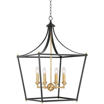 """Franklin Iron Works Bronze Warm Brass Cage Pendant Chandelier 22"""" Wide Farmhouse Wrought Iron 8-Light Fixture Dining Room Foyer"""