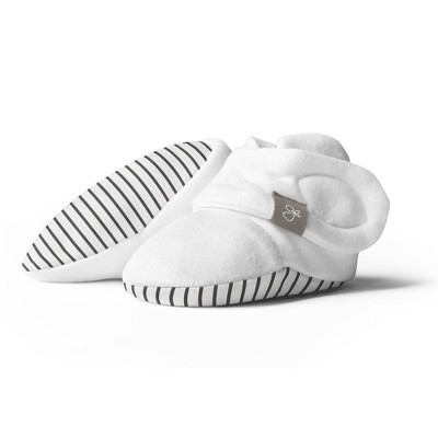 Goumi Baby Organic Cotton Striped Booties - Gray 0-3M