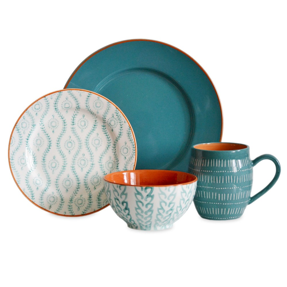Image of Baum Bros. Tangiers 16pc Dinnerware Set Turquoise, White Blue