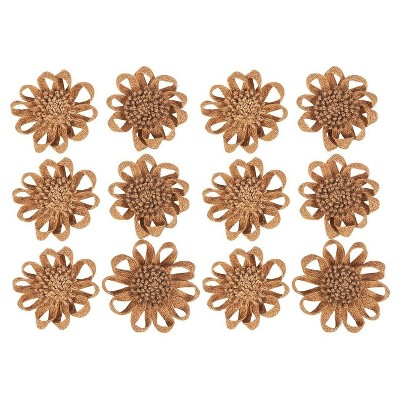 Jute Burlap Flowers for Crafting (Brown, 4.5 Inches, 12-Pack)