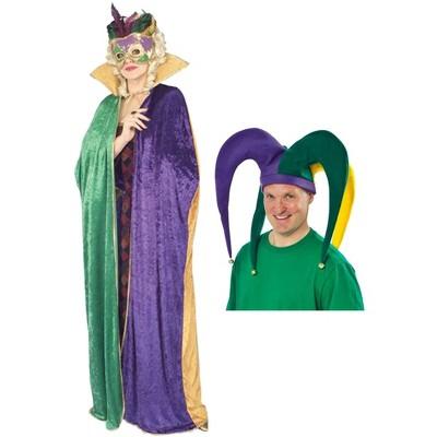 Birthday Express Mardi Gras Adult Jester Hat & Cape Bundle