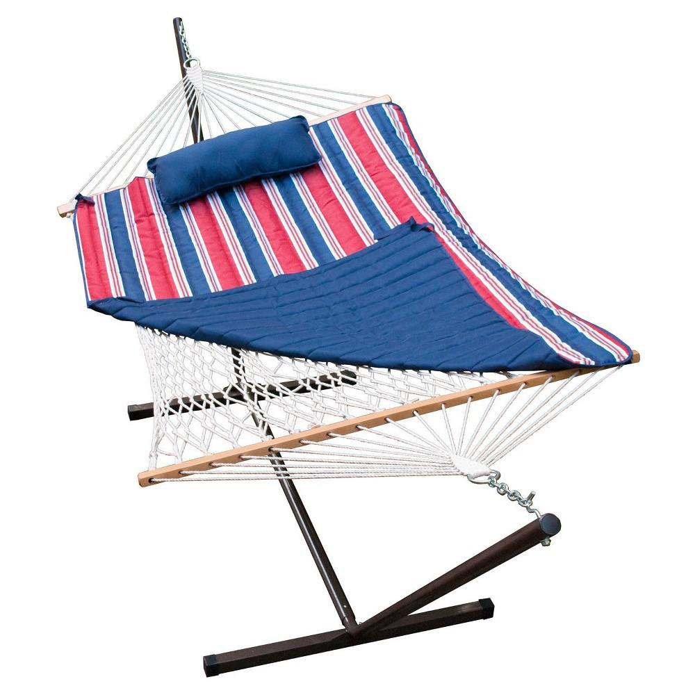 Algoma Cotton Rope Hammock And Stand Set - Patriot Stripe, Blue