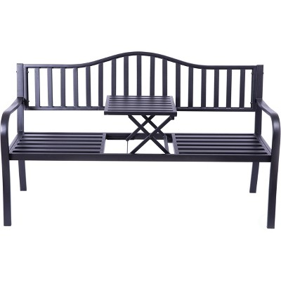 Gardenised Powder Coated Black Steel Patio Garden Park Yard Bench with Middle Table
