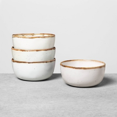 4pk Stoneware Reactive Glaze Cereal Bowl Set Sour Cream - Hearth & Hand™ with Magnolia