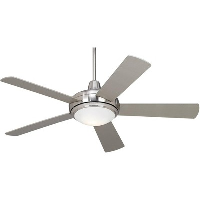 "52"" Casa Vieja Modern Ceiling Fan with Light LED Dimmable Remote Brushed Nickel Silver Blades for Living Room Kitchen Bedroom"