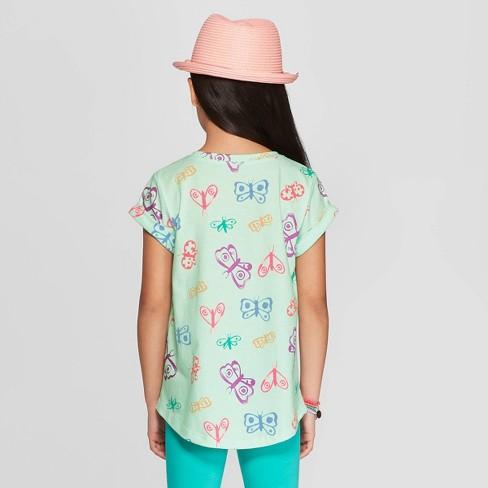 f0a8cb0ec95 Girls  Short Sleeve Butterfly Print Pocket T-Shirt - Cat   Jack™ Green