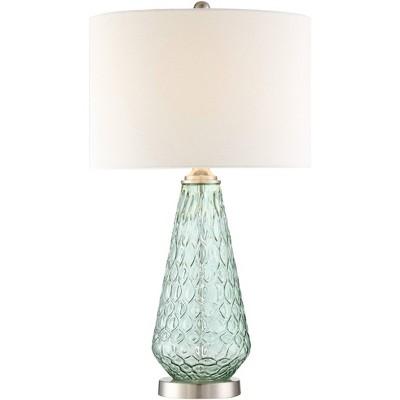 360 Lighting Modern Table Lamp Green Glass White Drum Shade for Living Room Bedroom Bedside Nightstand Office Family