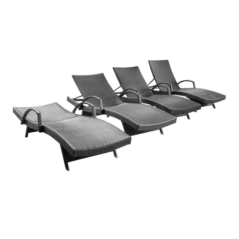 M Set Of 4 Wicker Adjule Chaise Lounge With Arms Christopher Knight Home