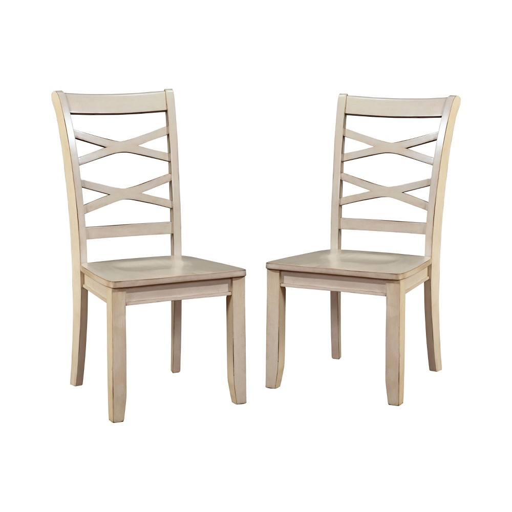 Set of 2 Emery Transitional Cross Back Side Dining Chair White - Sun & Pine