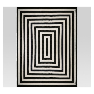 9' x 12' Mitre Stripe Outdoor Rug Black - Project 62™