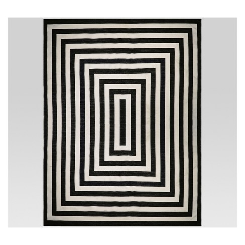 9' x 12' Mitre Stripe Outdoor Rug Black - Project 62™ - image 1 of 1