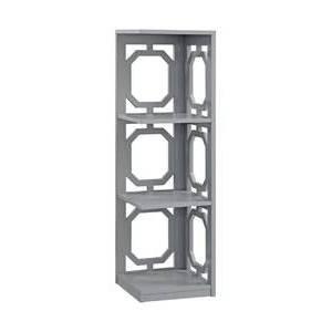 """38.5"""" Omega 3 Tier Corner Bookcase Gray - Breighton Home"""