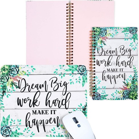 Pack of 2 Corresponding Journal Bundle with Mouse Pad, 128 GSM Pink Paper Notebook, Dream Big Work Hard Green Succulent Floral Design - image 1 of 4