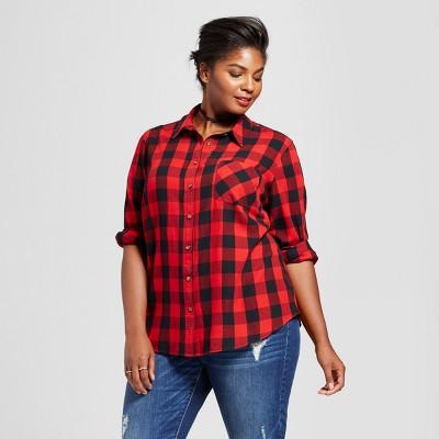 d9f05f66ba5 Women's Plus Size Button-Down Plaid Shirt - Ava & Viv™ Red : Target
