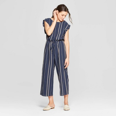 view Women's Short Sleeve Scoop Neck Striped Jumpsuit - Universal Thread Navy on target.com. Opens in a new tab.