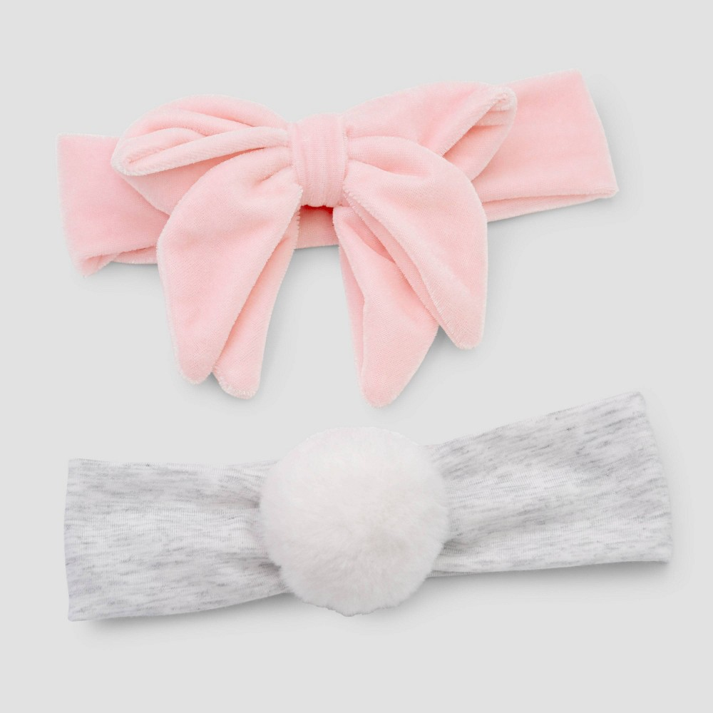 Image of Baby Girls' 2pk Velvet Poof Headwrap - Just One You made by carter's Newborn, Pink Gray