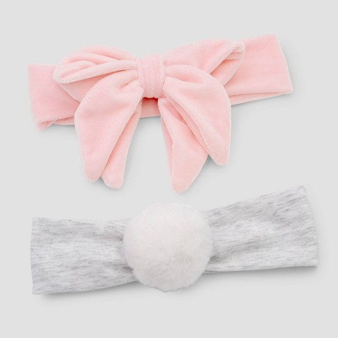 Baby Girls' 2pk Velvet Poof Headwrap - Just One You® made by carter's Newborn - image 1 of 1