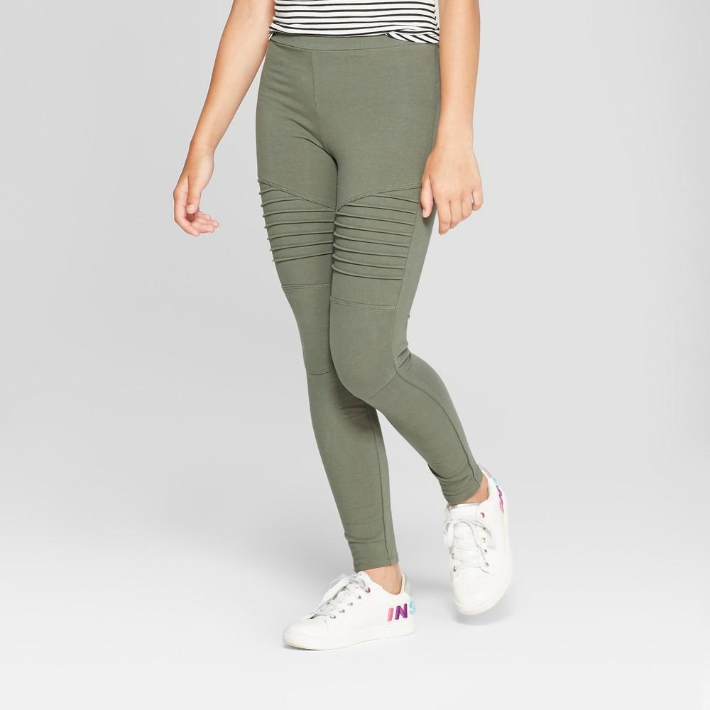 Girls' Moto Leggings - art class Olive XL, Green