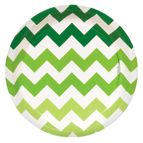 8ct Green Chevron Dinner Plate - image 1 of 1