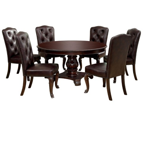Sun Pine 7pc Elegant Round Table Leather Dining Set Wood Brown