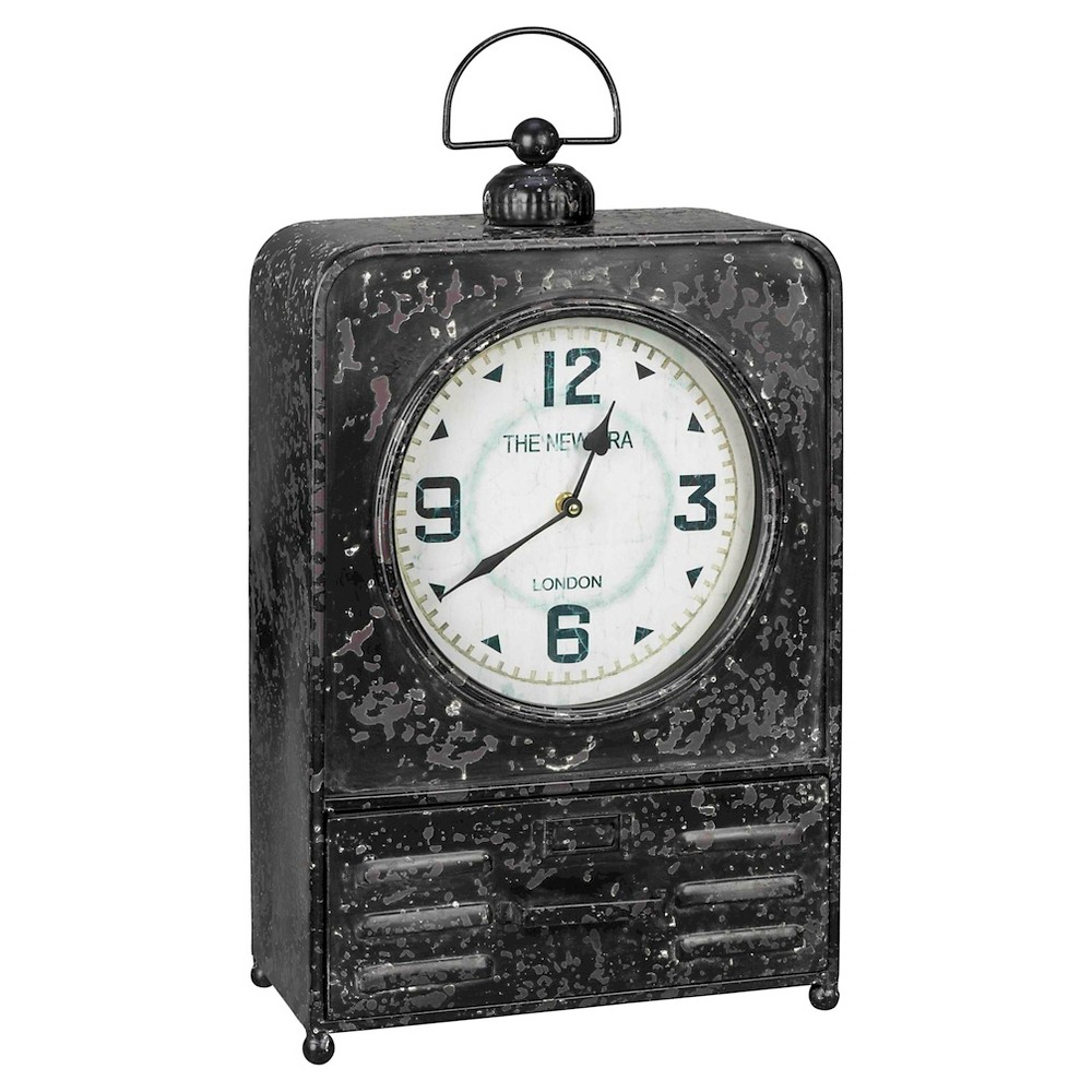 Image of Patton Metal Table Clock Vintage Black - Cooper Classics