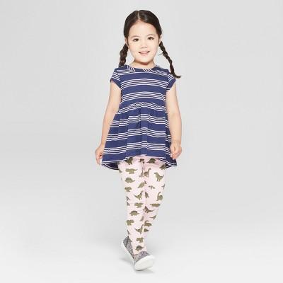 Toddler Girls' 2pc Short Sleeve Tunic and Dino Leggings Set - Cat & Jack™ Navy/Pink 18M