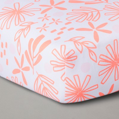 Fitted Crib Sheet Coral White - Cloud Island™ Coral