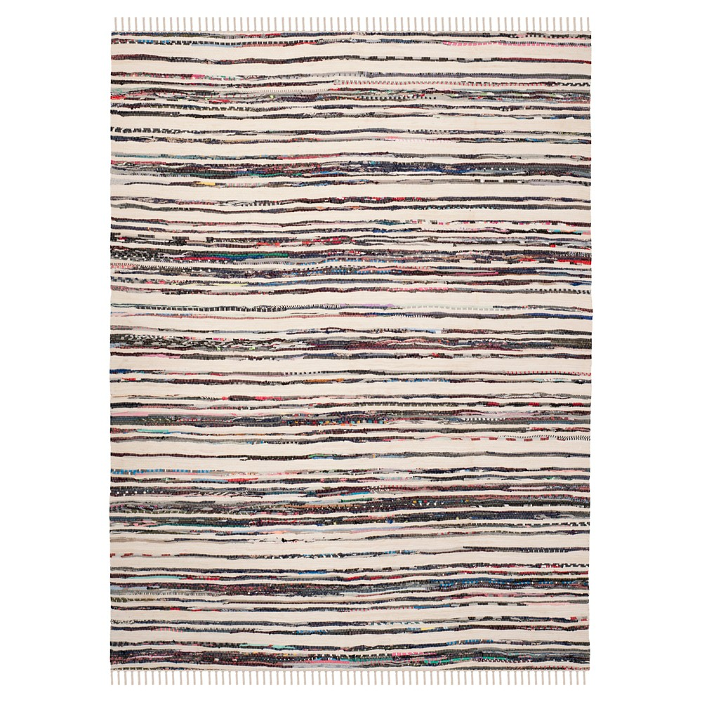 Ivory/Charcoal (Ivory/Grey) Stripes Woven Area Rug - (5'x8') - Safavieh