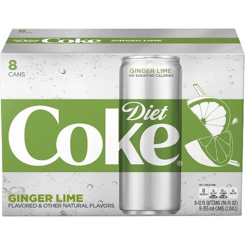 Diet Coke Ginger Lime 8pk 12 Fl Oz Sleek Cans Target