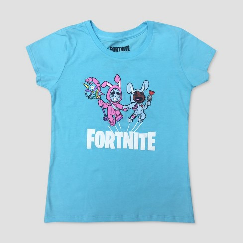 f31cc740532 Girls  Fortnite Bunny Trouble Short Sleeve T-Shirt - Blue XS   Target