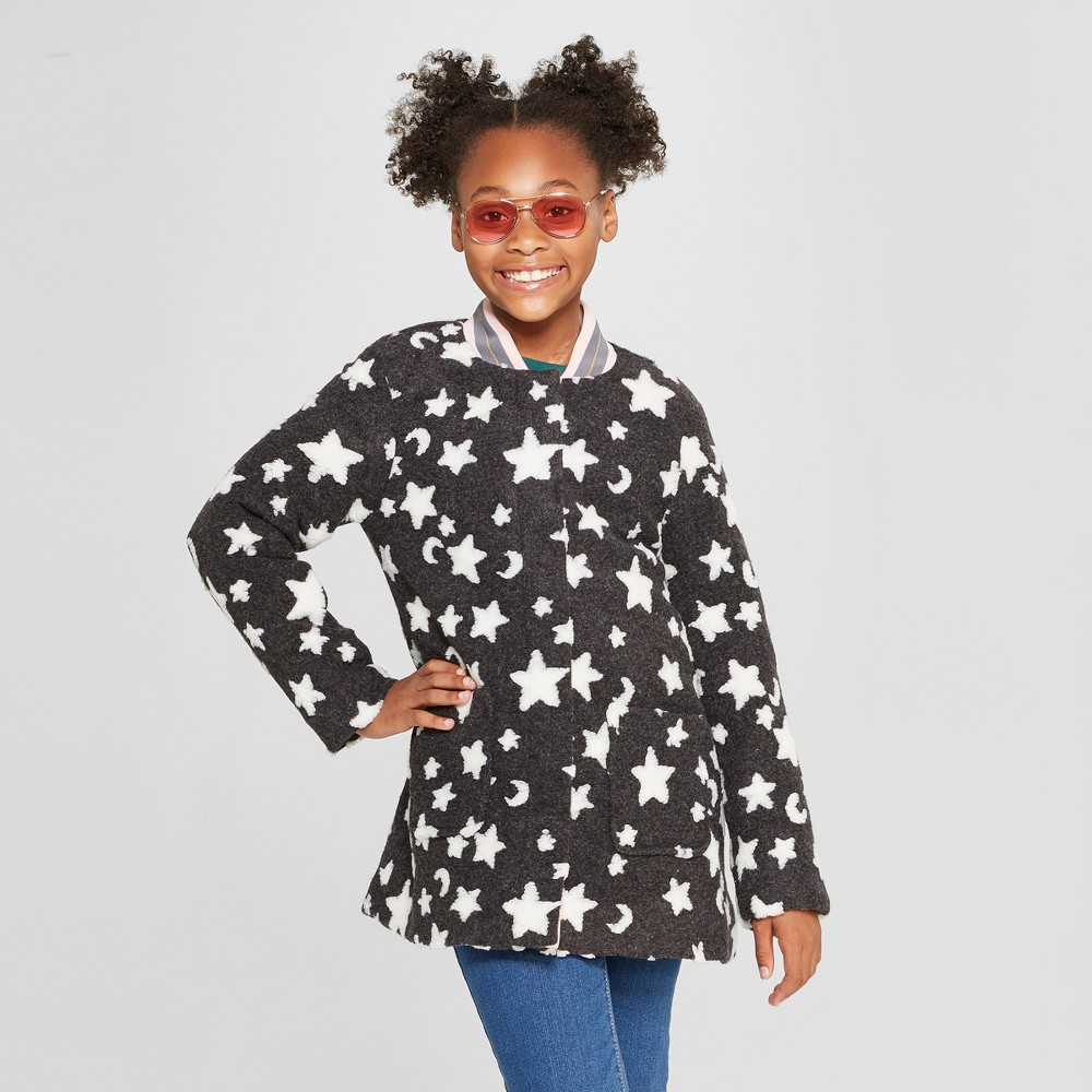 Girls' Felted Star Faux Wool Jacket - Cat & Jack Charcoal M, Gray