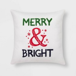 Merry & Bright' Print Square Throw Pillow Cream - Wondershop™