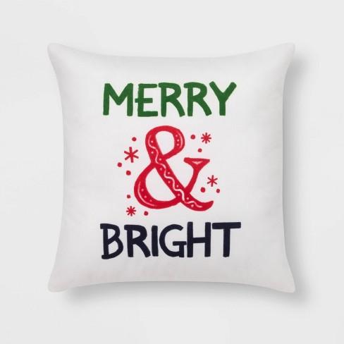 Merry & Bright' Print Square Throw Pillow Cream - Wondershop™ - image 1 of 2