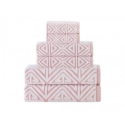6pc Glamour Turkish Cotton Bath Towel Set Pink - Enchante Home