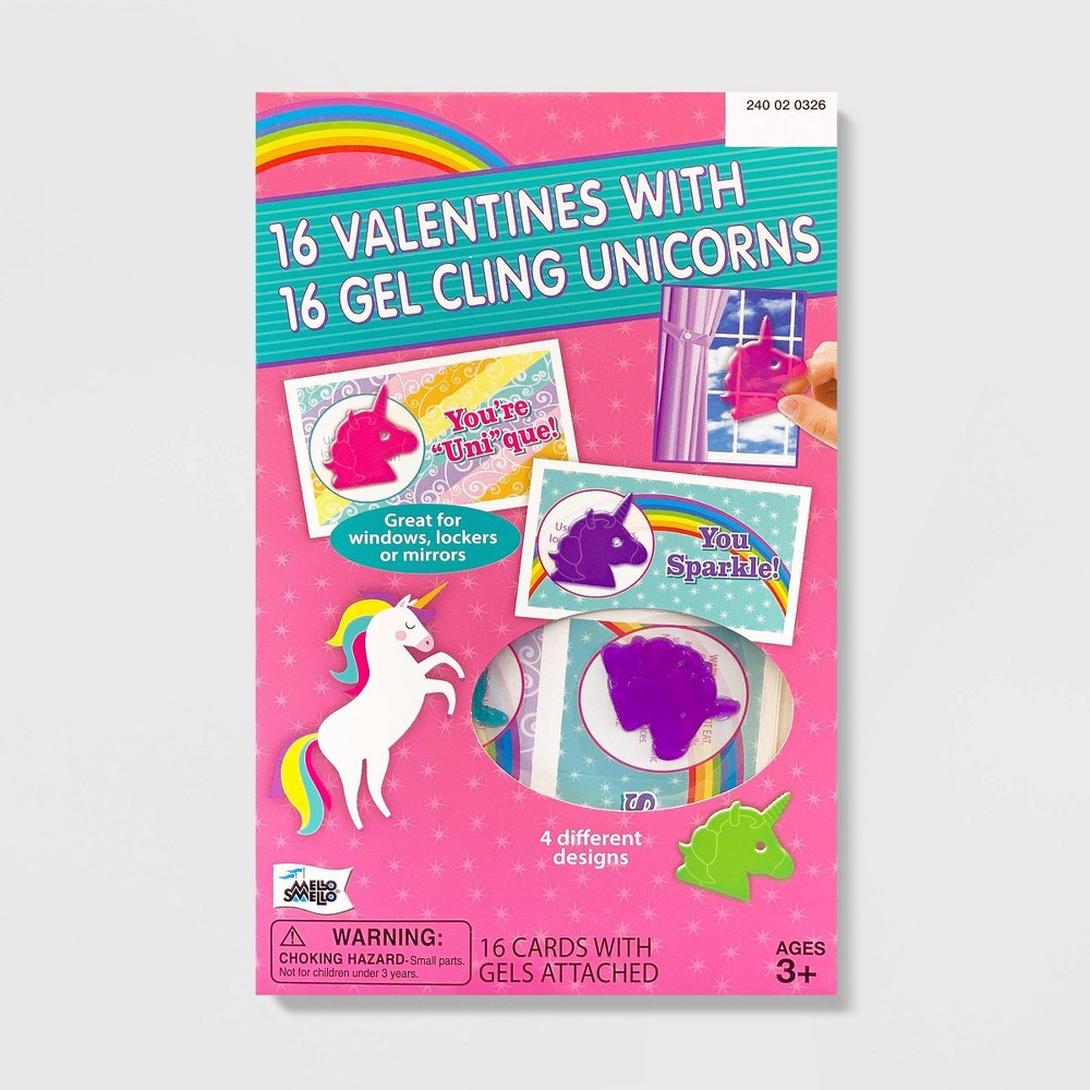 Image of 16ct Unicorn Valentines With Gel Clings - Mello Smello