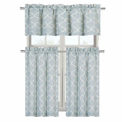 GoodGram Luxurious Turquoise Geometric Shabby 3 Piece Kitchen Curtain Tier & Valance Set - 58 in. W x 18 in. L
