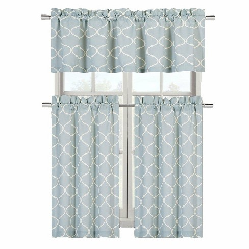 Goodgram Luxurious Turquoise Geometric Shabby 3 Piece Kitchen Curtain Tier Valance Set 58 In W X 18 In L Target