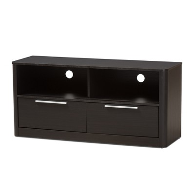 Carlingford Modern and Contemporary Espresso Finished Wood 2 Drawer TV Stand Brown - Baxton Studio