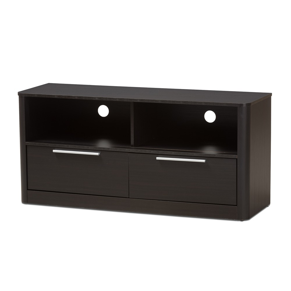Carlingford Modern And Contemporary Espresso Finished Wood 2 Drawer Tv Stand Brown Baxton Studio