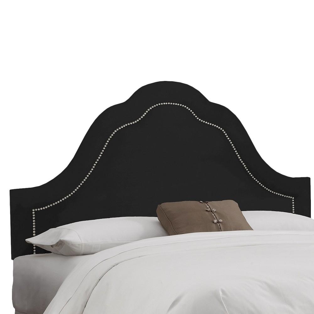 Skyline Custom Upholstered Arch Inset Nail Button Headboard - Queen - Skyline Furniture, Velvet Black