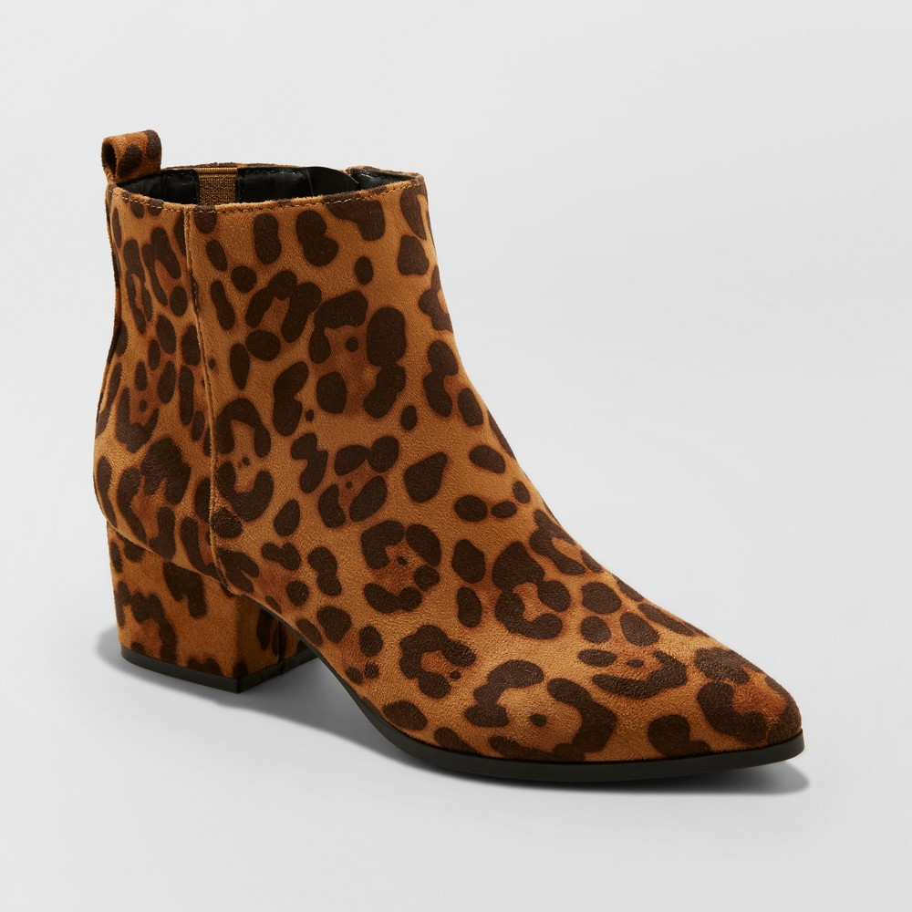 Women's Valerie Microsude Leopard Print City Ankle Fashion Boots - A New Day 9