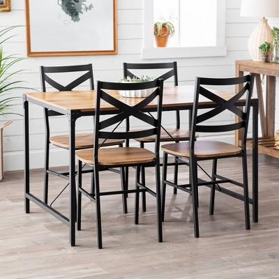5pc Metal And Wood Angle Iron Dining Kitchen Set - Saracina Home : Target