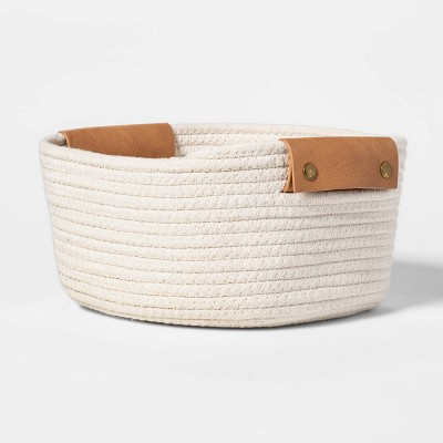 "11"" Decorative Coiled Rope Square Base Tapered Basket with Leather Handles Small White - Threshold™"