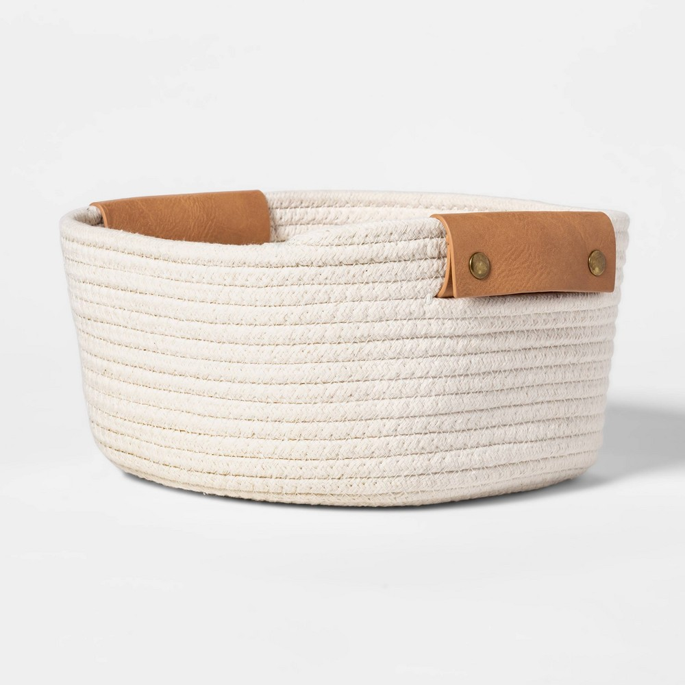 """Image of """"Decorative Coiled Rope Square Base Tapered Basket Small White 11"""""""" - Threshold"""""""