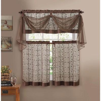 Kate Aurora Living Complete 4 Piece Linen Leaf Embroidered Complete Kitchen Curtain Set