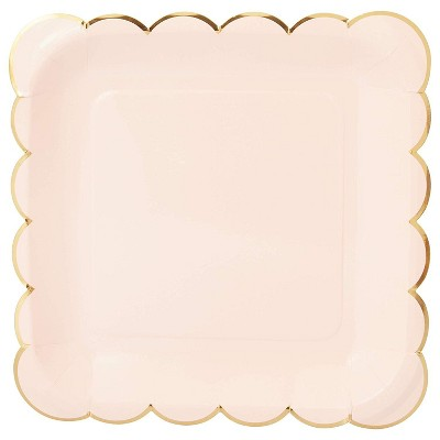 """Sparkle and Bash 48 Packs Square Scalloped Disposable Party Plates Plate for All Occasions, 9.1"""", Pink with Gold Foil"""