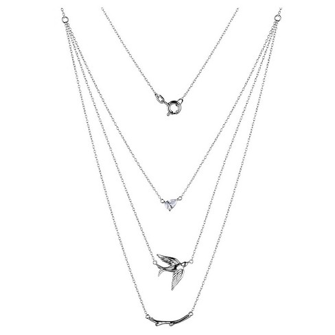 "Sterling Silver CZ Dove & Branch 3 Piece Layered Necklace with 16"" Chain - image 1 of 1"