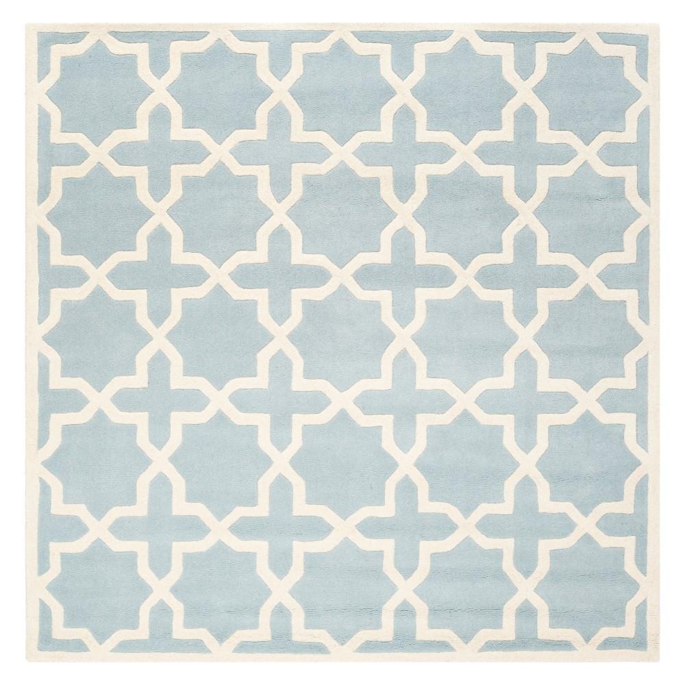 5 X5 Quatrefoil Design Tufted Square Area Rug Blue Ivory Safavieh