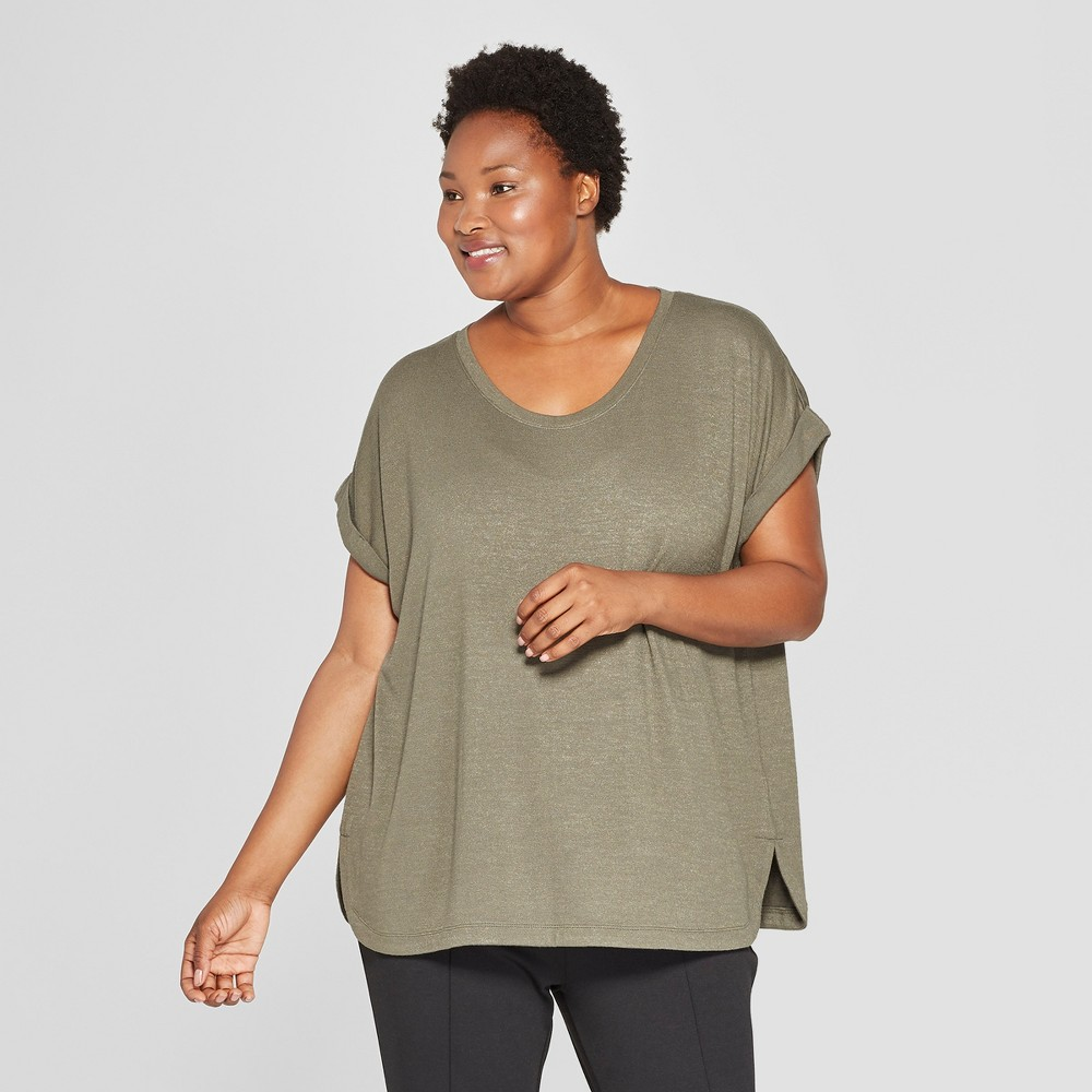 Women's Plus Size Textured Cuff Short Sleeve T-Shirt - Ava & Viv Olive (Green) X