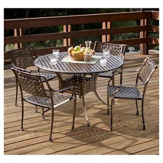 Sebastian 5pc Cast Aluminum Outdoor Dining Set - Dark Copper - Christopher Knight Home